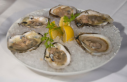 Washington DC; USA:  DC Coast, a fine dining restaurant.  Dish of iced blue point oysters.  .Photo copyright Lee Foster Photo # 24-washdc83047