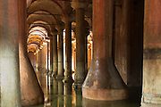 Water reflecting columns at Basilica Cistern (Sunken Palace) subterranean water system underground, Istanbul, Republic of Turkey