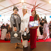 08.10.17.            <br /> Pictured at Limerick Racecourse were the finalists of the Keanes Most Stylish Lady competition, left to right, Second prize, Nadine Smith, Abbeyfeale, Co. Limerick, 1st place Lesley Teehan from Kilkenny and 3rd, Diana Hillard, Listowel. Picture: Alan Place