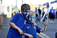 Young Everton fans outside the stadium .Premier league match, Everton v Middlesbrough at Goodison Park in Liverpool, Merseyside on Saturday 17th September 2016.<br /> pic by Chris Stading, Andrew Orchard sports photography.