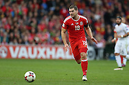 Sam Vokes of Wales in action. Wales v Georgia , FIFA World Cup qualifier, European group D match at the Cardiff city Stadium in Cardiff on Sunday 9th October 2016. pic by Andrew Orchard, Andrew Orchard sports photography