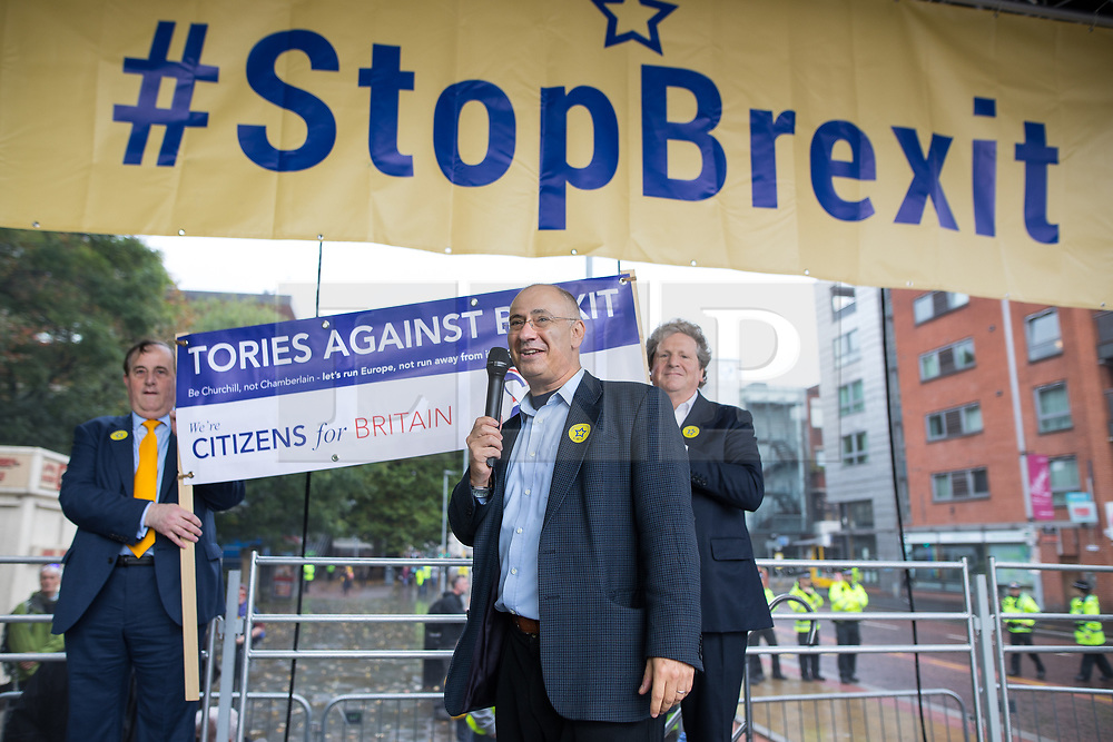 © Licensed to London News Pictures . 01/10/2017. Manchester, UK. Simon Allison of Tories Against Brexit . Thousands of people take part in an anti Brexit pro EU demonstration at All Saints Park in Manchester during the Conservative Party Conference , which is taking place at the Manchester Central Convention Centre . Photo credit: Joel Goodman/LNP