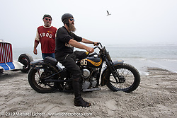 Matt Walksler from the Wheels through Time Museum in Maggie Valley, NC with the Mike Silvio Cycle Mos built Knuckle Buster 1945 Harley-Davidson 45 inch WL racer Matt raced at TROG (The Race Of Gentlemen). Wildwood, NJ. USA. Saturday June 9, 2018. Photography ©2018 Michael Lichter.