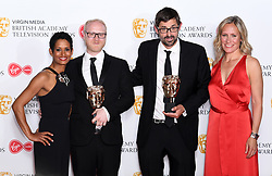 Naga Munchetty, Aaron Fellowes, Louis Theroux and Sophie Rayworth in the press room during the Virgin Media BAFTA TV awards, held at the Royal Festival Hall in London. Photo credit should read: Doug Peters/EMPICS