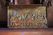 Last supper metal artwork inside St Margaret South Elmham, Suffolk, England, UK
