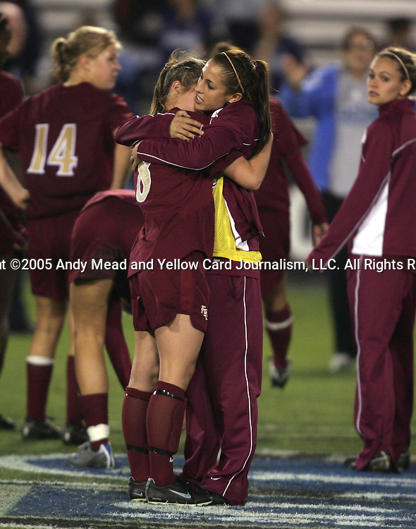 2 December 2005: FSU's Alli Ferreri (8) is consoled by a teammate after the loss. The UCLA Bruins defeated the Florida State Seminoles 4-0 in their NCAA Division I Women's College Cup semifinal at Aggie Soccer Stadium in College Station, TX.