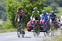 June 8, 2017 - Macon, France - MACON, FRANCE - JUNE 8 : BOUWMAN Koen of Team LottoNL-Jumbo, EL FARES Julien of Delko Marseille Provence KTM, MINNAARD Marco of Wanty - Groupe Gobert, VAN BAARLE Dylan of Cannondale-Drapac Pro Cycling Team during stage 5 of the 69th edition of the Criterium du Dauphine Libere cycling race, a stage of 175 kms between La Tour-de-Salvagny and Macon on June 08, 2017 in Macon, France, 8/06/2017 (Credit Image: © Panoramic via ZUMA Press)