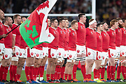 Wales players sing their Anthem before the Rugby World Cup bronze final match between New Zealand and Wales Friday, Nov, 1, 2019, in Tokyo. New Zealand defeated Wales 40-17.  (Flor Tan Jun/Espa-Images-Image of Sport)