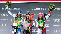 Second placed in Overall Golden Fox Classification VLHOVA Petra of Slovakia, winner in overall classification SHIFFRIN Mikaela of USA and third placed HOLDENER Wendy of Switzerland celebrate during Trophy ceremony after the 7th Ladies'  Slalom at 55th Golden Fox - Maribor of Audi FIS Ski World Cup 2018/19, on February 2, 2019 in Pohorje, Maribor, Slovenia. Photo by Matic Ritonja / Sportida