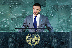 David Beckham speaks at a World Children's Day event at United Nations Headquarters in New York City on Wednesday, November 20, 2019. Photo by Robin UtrechtABACAPRESS.COM