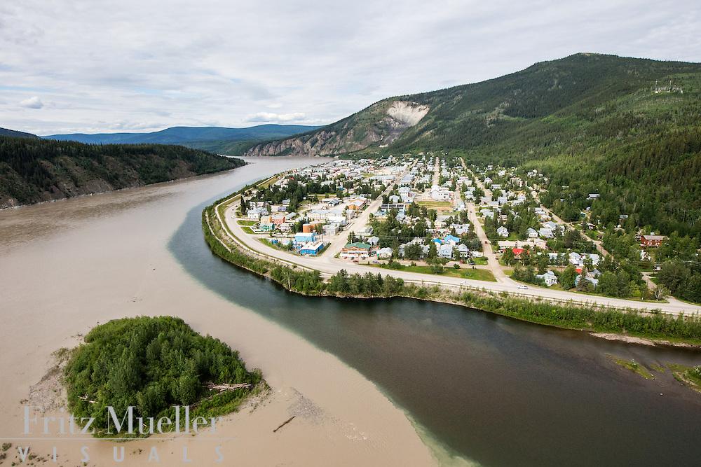 Aerial view of Dawson City, Yukon