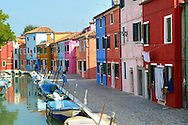 Colorful houses, Fondementi Pontinella Destro, Burano Venice Italy The traditional colourful houses of Burano Island, Venice Lagoon, Italy .<br /> <br /> Visit our ITALY HISTORIC PLACES PHOTO COLLECTION for more   photos of Italy to download or buy as prints https://funkystock.photoshelter.com/gallery-collection/2b-Pictures-Images-of-Italy-Photos-of-Italian-Historic-Landmark-Sites/C0000qxA2zGFjd_k