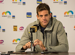 March 21, 2018 - Miami, Florida, United States - Juan Martin del Potro, the Indian Wells Masters 1000 Champion talking to the media during a press conference in Miami, previous to his first match next weekend, in Miami, on March 21, 2018. (Credit Image: © Manuel Mazzanti/NurPhoto via ZUMA Press)