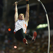 Olympic Gold Medalist Steve Hooker winning the Men's pole vault event with a clearance of 5.95m at the Sydney Track Classic 2009 held at Sydney Olympic Park Athletics Centre, Sydney, Australia on February 28, 2009. Photo Tim Clayton