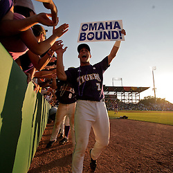 06 June 2009:  LSU player Grant Dozar celebrates with fans following  a 5-3 victory by the LSU Tigers over the Rice Owls in game two of the NCAA baseball College World Series, Super Regional played at Alex Box Stadium in Baton Rouge, Louisiana. The Tigers with the win advance to next week's College Baseball World Series in Omaha, Nebraska.