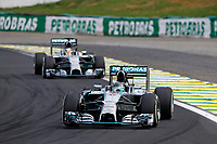 ROSBERG Nico (Ger) Mercedes Gp Mgp W05 action HAMILTON Lewis (Gbr) Mercedes Gp Mgp W05 action   during the 2014 Formula One World Championship, Brazil Grand Prix from November 6th to 9th 2014 in Sao Paulo, Brazil. Photo Frederic Le Floch / DPPI.