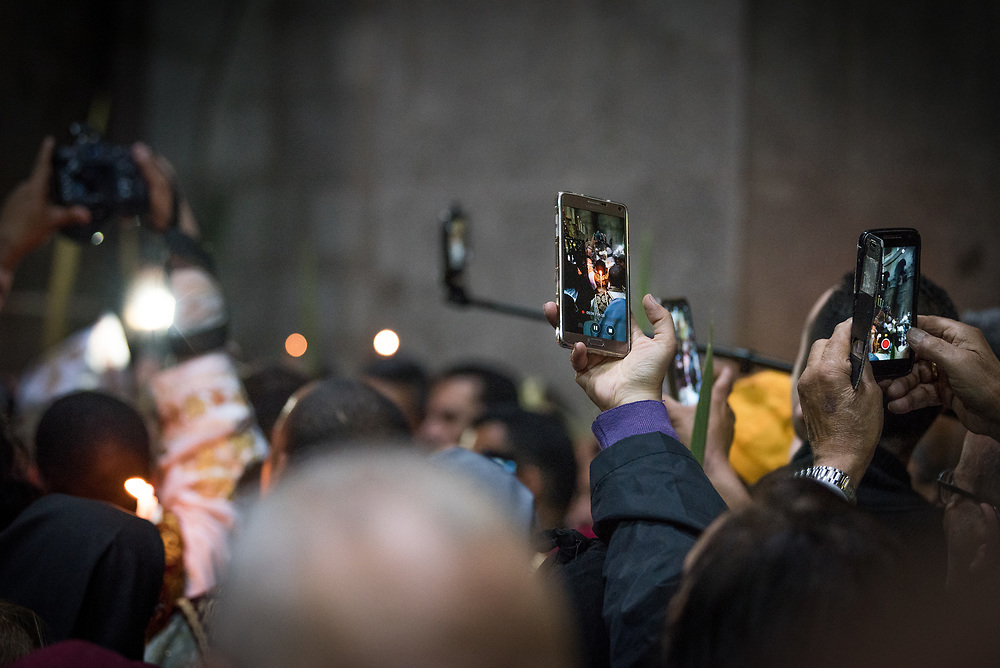 20 April 2019, Jerusalem: In the eastern tradition, Orthodox Christians are gathered in the Church of the Holy Sepulchre to mark Palm Sunday, and the beginning of Holy Week.