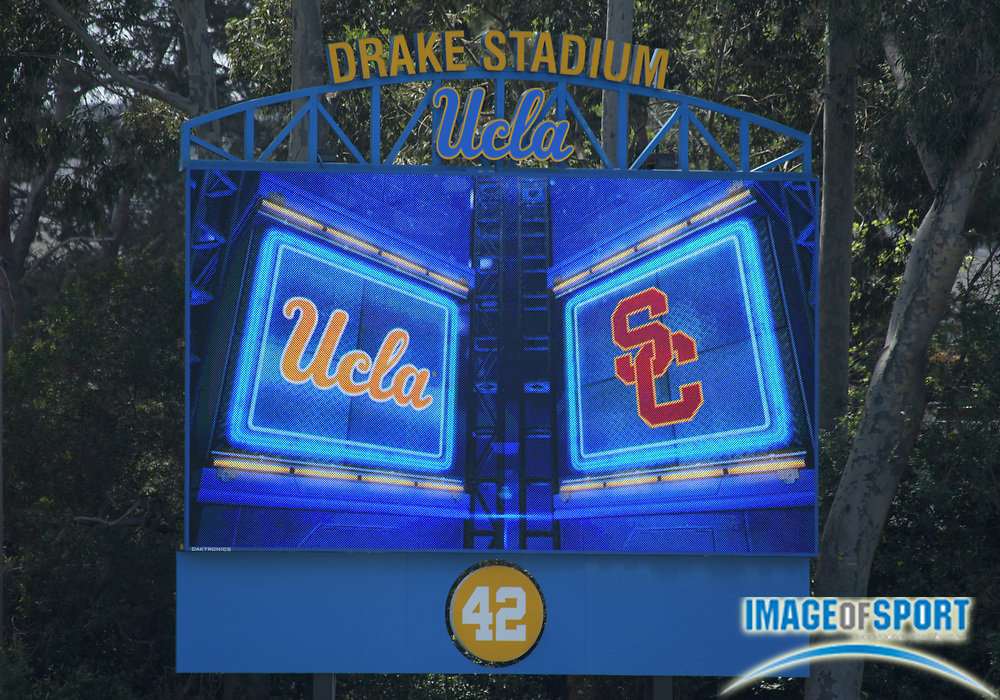 The scoreboard during a collegiate dual meet between the Southern California Trojans and the UCLA Bruins at Drake Stadium in Los Angeles, Sunday, April 29, 2018.