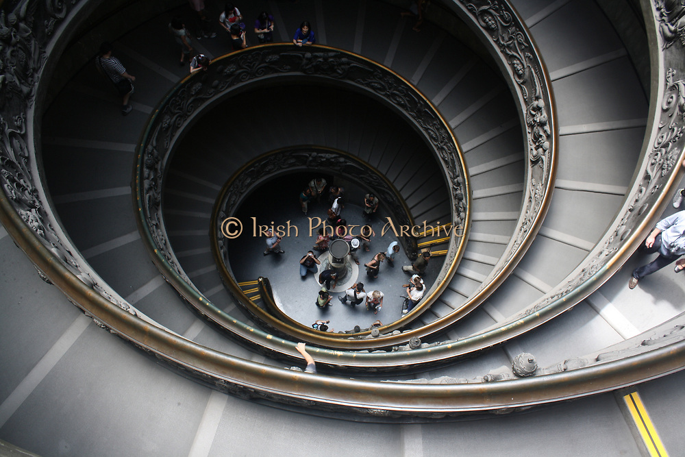 Detail from the Vatican Museums, an immense collection of classical, renaissance masterpieces etc. Founded in the early 16th century by Pope Julius II they are considered to be some of the world's greatest museums. This image shows a portion of the spiralling staircase.