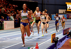 Great Britain's Katarina Johnson-Thompson wins the Women's Pentathlon 800m and gold in the Women's Pentathlon during day two of the 2018 IAAF Indoor World Championships at The Arena Birmingham.