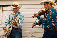 Montana Old Time Fiddlers Picnic, Livingston Montana, banjo and fiddle, <br /> MODEL RELEASED BANJO PLAYER ONLY