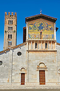 Facade with Byzantine Mosaic panel depicting Christ Pantocrator of the Basilica of San Frediano, a Romanesque church, Lucca, Tunscany, Italy .<br /> <br /> Visit our BYZANTINE MOSAIC PHOTO COLLECTION for more   photos  to download or buy as prints https://funkystock.photoshelter.com/gallery/Byzantine-Eastern-Roman-Style-Mosaics-Pictures-Images/G0000NvKCna.AoH4/3/C0000YpKXiAHnG2k<br /> If you prefer to buy from our ALAMY PHOTO LIBRARY  Collection visit : https://www.alamy.com/portfolio/paul-williams-funkystock/lucca.html If you prefer to buy from our ALAMY PHOTO LIBRARY  Collection visit : https://www.alamy.com/portfolio/paul-williams-funkystock/lucca.html .