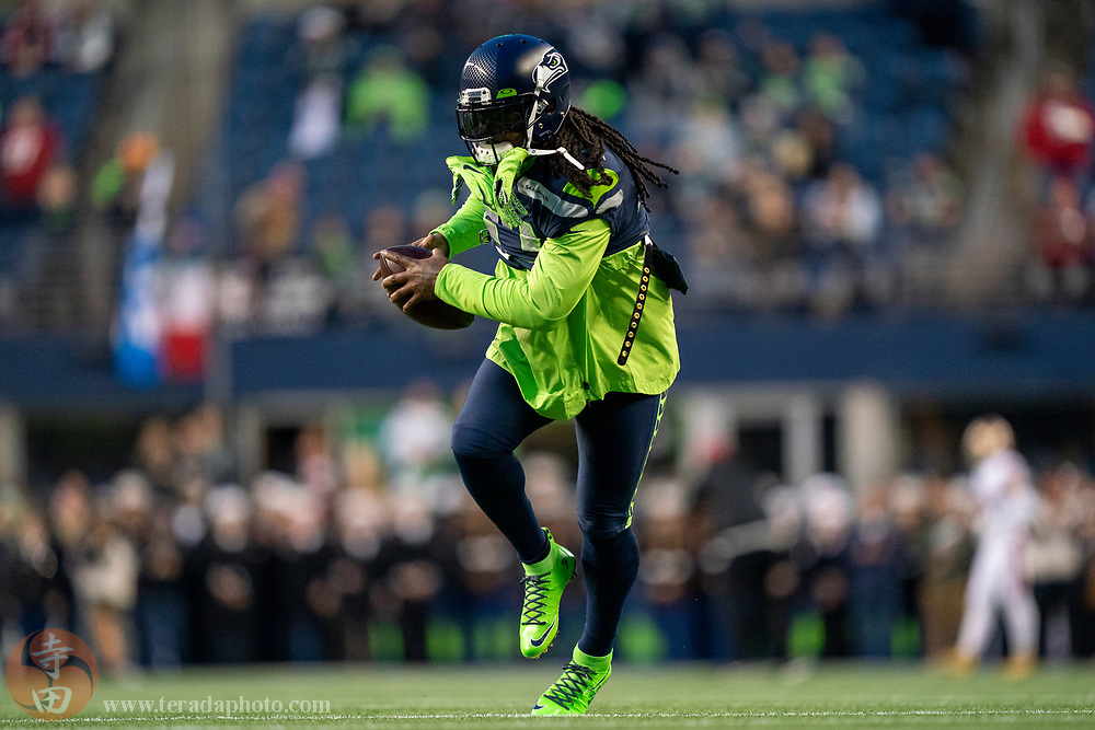 December 29, 2019; Seattle, Washington, USA; Seattle Seahawks running back Marshawn Lynch (24) warms up before the game against the San Francisco 49ers at CenturyLink Field.