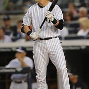 Jacoby Ellsbury, New York Yankees, batting during the New York Yankees V New York Mets, Subway Series game at Yankee Stadium, The Bronx, New York. 12th May 2014. Photo Tim Clayton