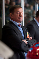 KELOWNA, CANADA - NOVEMBER 9:  Valery Bragin coach of Team Russia stands on the bench against the Team WHLon November 9, 2015 during game 1 of the Canada Russia Super Series at Prospera Place in Kelowna, British Columbia, Canada.  (Photo by Marissa Baecker/Western Hockey League)  *** Local Caption *** Valery Bragin;