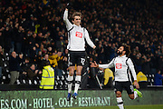 Derby County midfielder, on loan from Middlesbrough, Julien De Sart (17) celebrates after scoring a goal to make it 1-0 during the EFL Sky Bet Championship match between Derby County and Cardiff City at the Pride Park, Derby, England on 14 February 2017. Photo by Jon Hobley.