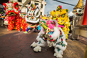 24 SEPTEMBER 2014 - BANGKOK, THAILAND: Chinese Lion dancers perform on Yaowarat Road in Bangkok's Chinatown during the Vegetarian Festival Parade. The Vegetarian Festival is celebrated throughout Thailand. It is the Thai version of the The Nine Emperor Gods Festival, a nine-day Taoist celebration beginning on the eve of 9th lunar month of the Chinese calendar. During a period of nine days, those who are participating in the festival dress all in white and abstain from eating meat, poultry, seafood, and dairy products. Vendors and proprietors of restaurants indicate that vegetarian food is for sale by putting a yellow flag out with Thai characters for meatless written on it in red.    PHOTO BY JACK KURTZ