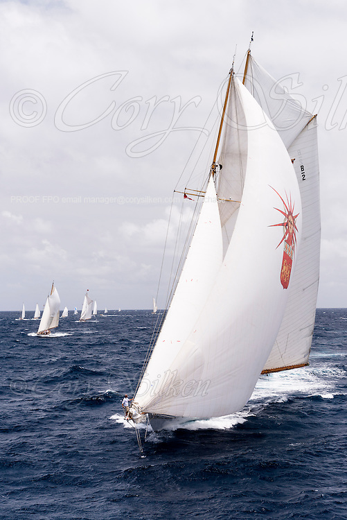 Elena sailing in the Antigua Classic Yacht Regatta, Butterfly Race.