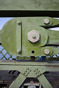 After being closed indefinitely to all traffic due to structural faults, an architectural detail of Hammersmith Bridge, on 11th April 2019, in west London, England. Safety checks revealed critical faults and Hammersmith and Fulham Council has said its ben left with no choice but to shut the bridge until refurbishment costs could be met. The government has said that between 2015 and 2021 its is providing £11bn of support to the 132-year-old bridge.
