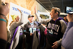 """Jimmy Fallon plays beer pong with fans and does some taping for """"The Tonight Show with Jimmy Fallon"""" on Sunday, February 4, 2018 on The StubHub Live: Field House Super Bowl pregame event at Target Field in Minneapolis, Minn. The event, free for those who purchased tickets to the Super Bowl on StubHub, included food and drink, tailgating games and meet and greets with football greats. Photo by Leila Navidi/Minneapolis Star Tribune/TNS/ABACAPRESS.COM"""