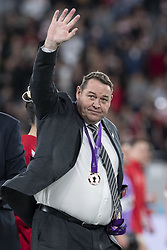November 1, 2019, Tokyo, Japan: Head Coach Steve Hansen of New Zealand team greets supporters after winning the Bronze Final match between New Zealand and Wales during the Rugby World Cup 2019 at Tokyo Stadium. New Zealand defeats Wales 40-17. (Credit Image: © Rodrigo Reyes Marin/ZUMA Wire)