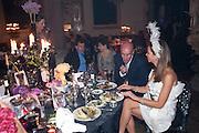 Poju Zabludowicz; Dorrit Moussasief; Johan Eliasch; Heather Kerzner,  Amanda Eliasch birthday dinner. North Audley st. London. 12 May 2010. <br /> -DO NOT ARCHIVE-© Copyright Photograph by Dafydd Jones. 248 Clapham Rd. London SW9 0PZ. Tel 0207 820 0771. www.dafjones.com.