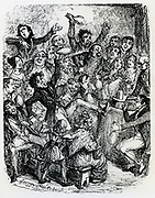Audience at a lecture enjoying the effects of laughing gas (nitrous oxide). Illustration of 1834 by George Cruikshank .