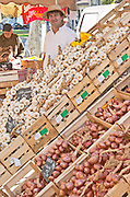 On a street market. On a street market. Garlic. Oinions. Bordeaux city, Aquitaine, Gironde, France