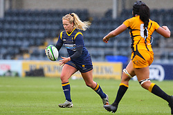 Sarah Nicholas of Worcester Warriors Women about to fire a cross-field kick - Mandatory by-line: Nick Browning/JMP - 24/10/2020 - RUGBY - Sixways Stadium - Worcester, England - Worcester Warriors Women v Wasps FC Ladies - Allianz Premier 15s
