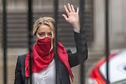 """US actress Amber Heard gestures and waves as she arrives at the High Court in London on Friday, July 24, 2020. She will attend a hearing in Johnny Depp's libel case against the publishers of The Sun and its executive editor, Dan Wootton. <br /> 57-year-old Depp is suing the tabloid's publisher News Group Newspapers (NGN) over an article which called him a """"wife-beater"""" and referred to """"overwhelming evidence"""" he attacked Ms Heard, 34, during their relationship, which he strenuously denies. (VXP Photo/ Vudi Xhymshiti)"""