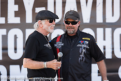 Willie G. Davidson and Bill Davidson on stage at the HD Rally Point during the Harley-Davidson Editors Choice Custom Bike Show on Main Street during the annual Sturgis Black Hills Motorcycle Rally.  SD, USA.  August 8, 2016.  Photography ©2016 Michael Lichter.