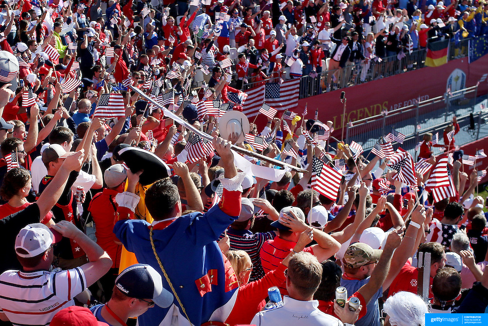 Ryder Cup 2016. Day Three. Spectators singing on the first tee during the Sunday singles competition at  the Ryder Cup tournament at Hazeltine National Golf Club on October 02, 2016 in Chaska, Minnesota.  (Photo by Tim Clayton/Corbis via Getty Images)