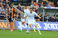 Gylfi Sigurdsson of Swansea city © in action. Premier league match, Swansea city v Hull city at the Liberty Stadium in Swansea, South Wales on Saturday 20th August 2016.<br /> pic by Andrew Orchard, Andrew Orchard sports photography.