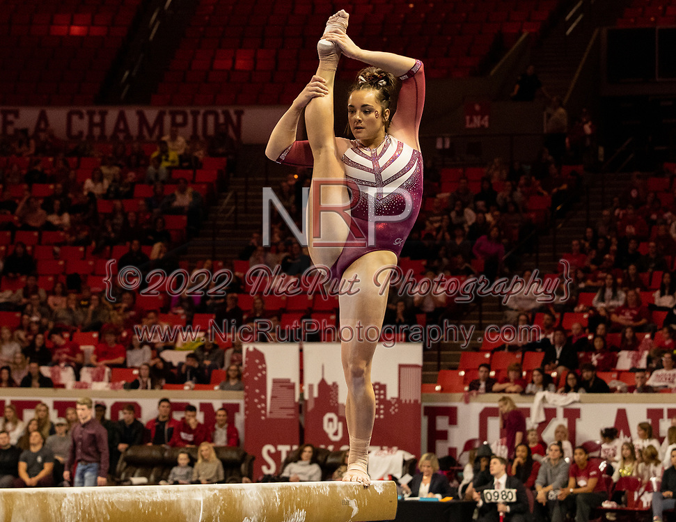 Maggie Nichols on the balance beam for the Oklahoma Sooners Friday evening, January 11, 2019 at the Lloyd Noble Center.