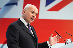 """© under license to London News Pictures. 06/03/2011: Iain Duncan Smith addresses the audience at the Conservative Party's Spring Forum in Cardiff. Credit should read """"Joel Goodman/London News Pictures""""."""