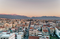 Aerial view of beautiful sunset at Patras in Greece