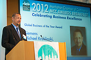 Michael Kruklinski of Siemens, Globla Business of the Year award winner. Manhattan Chamber of Commerce's 2012 Awards Breakfast celebrated business excellence by recognizing outstanding leaders. The awards were presented by Well Fargo and hosted at Con Edison's Conference Center on January 31, 2013.