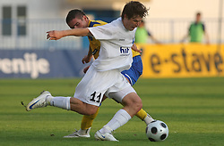 Etien Velikonja of Gorica and Aleksander Rajcevic of Koper  at 2nd Round of PrvaLiga Telekom Slovenije between NK Koper vs NK Hit Gorica, on July 26, 2008, in SRC Bonifika stadium in Koper. Gorica won the mach 3:1. (Photo by Vid Ponikvar / Sportal Images)