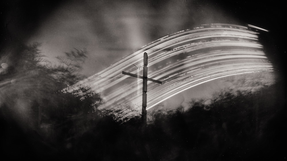 """Cross, Kaitorete Spit; While my city is shaken.<br /> 2011 (6 months).<br /> 167mm x 297mm (Image size).<br /> Pigment ink on paper.<br /> <br /> Editions of 10.<br /> <br /> First shown at the exhibition """"Unknowable"""" at Chambers 241, Christchurch (2013)."""