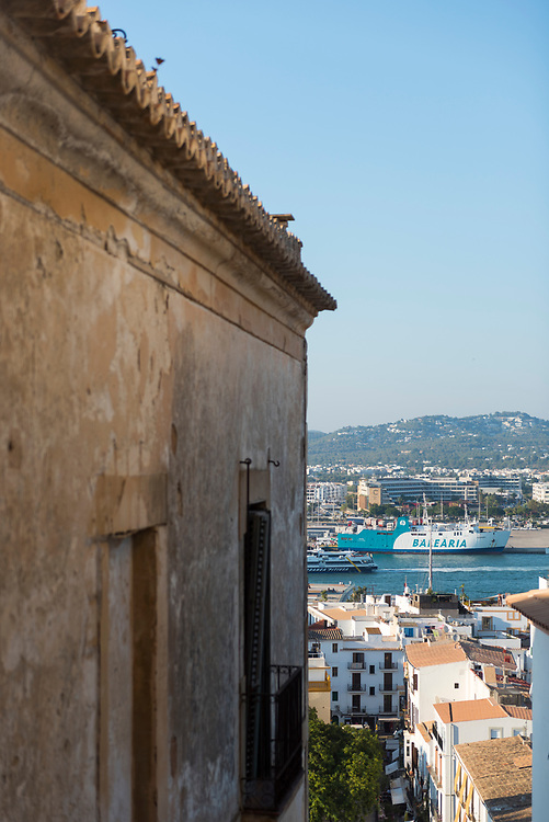 A Balearia ferry is docked in the port of Ibiza town on the Spanish island of Ibiza (August 2018)